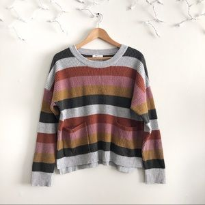 Madewell Patch Pocket Pullover Stripe Sweater XL